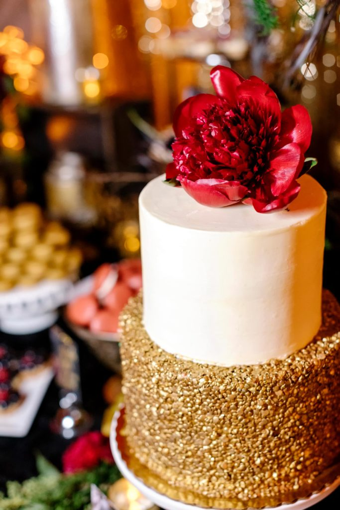 Nontraditional Gold Wedding Cake