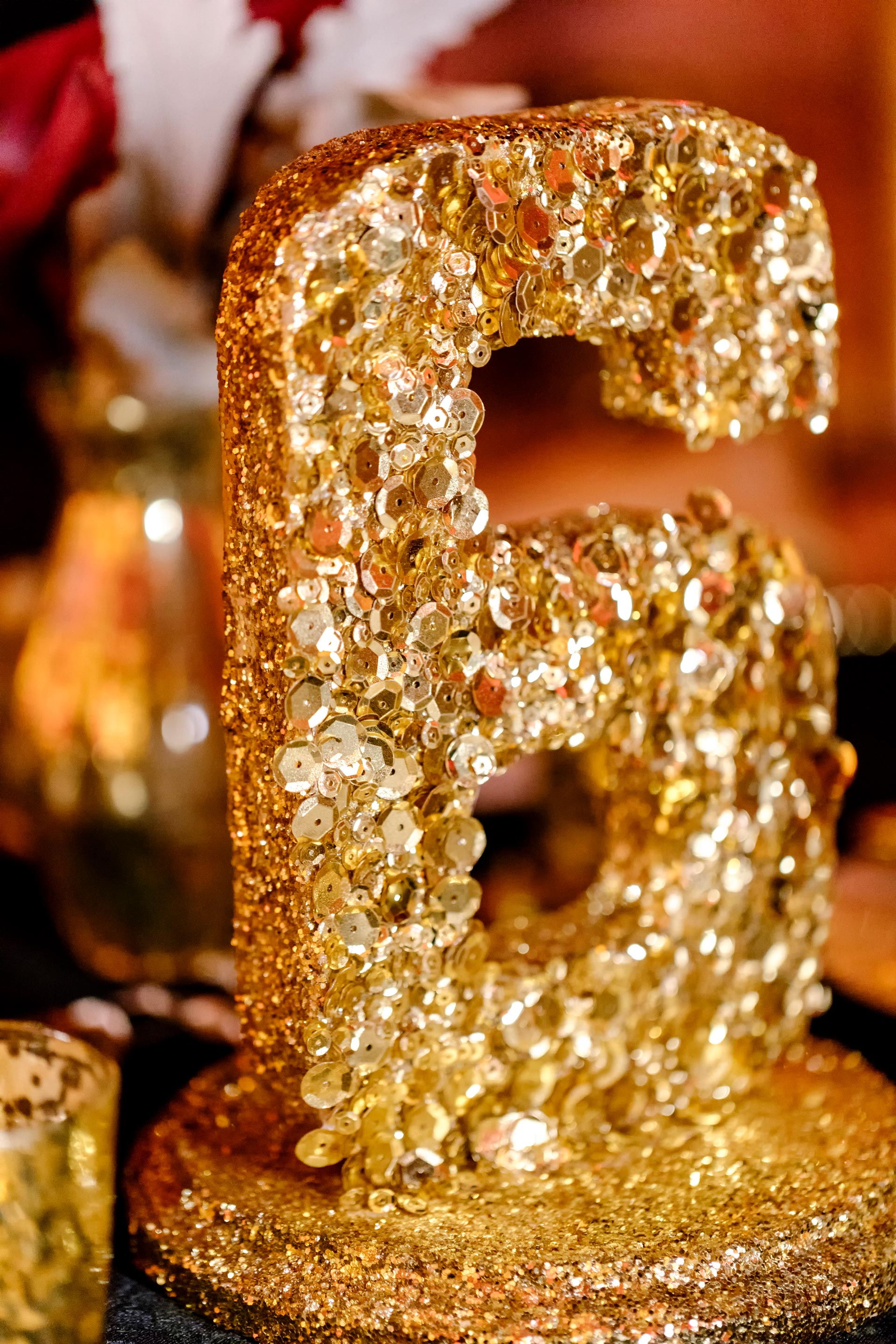 Gold Sequin Table Numbers