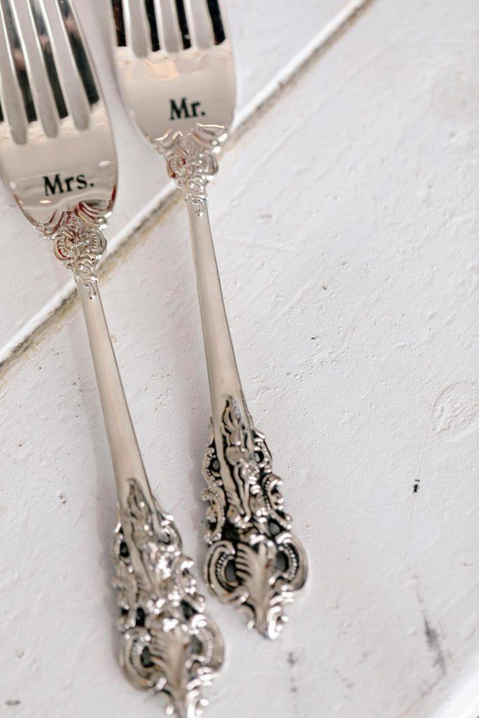 Silver wedding forks