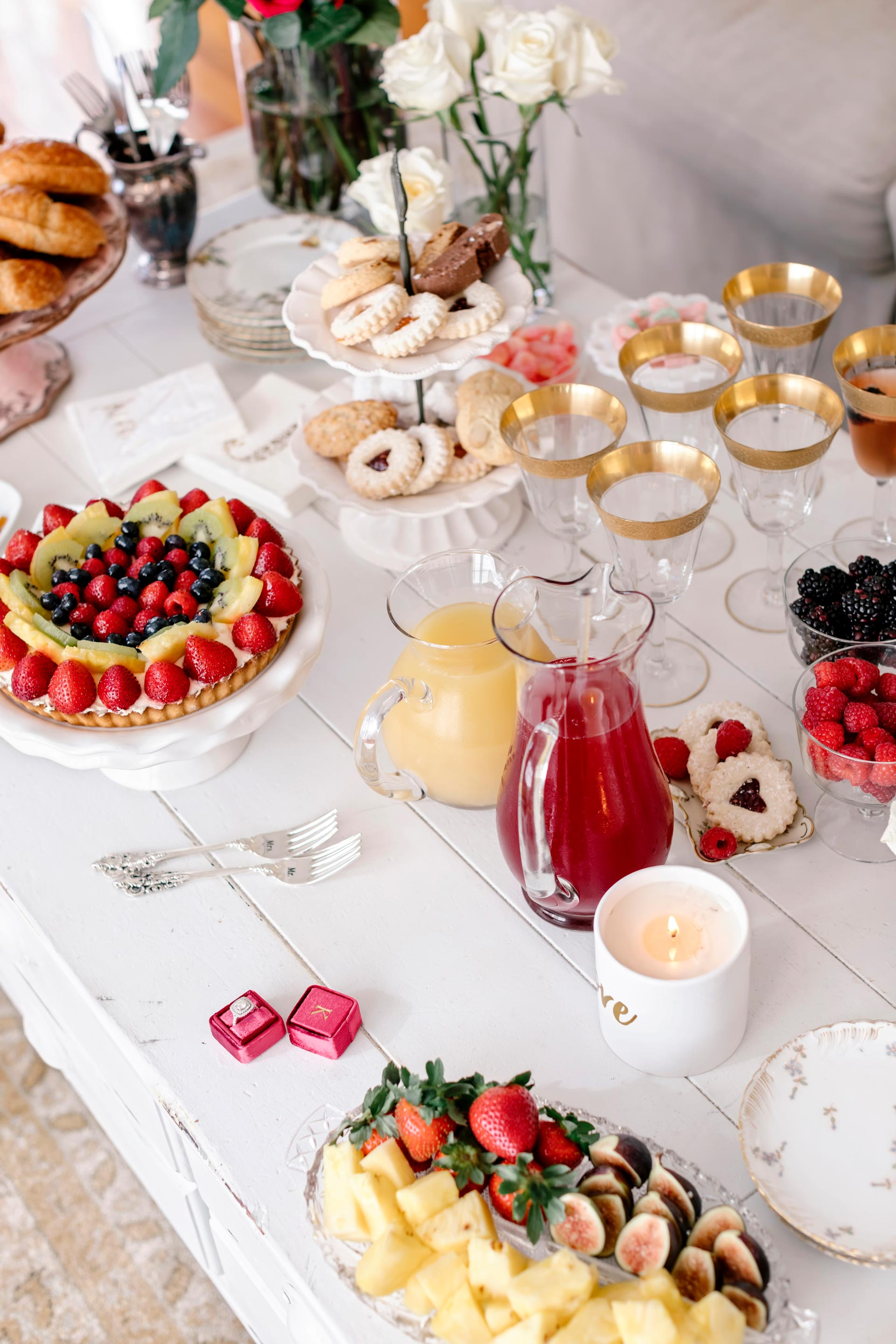 Styled Wedding Breakfast with Champagne