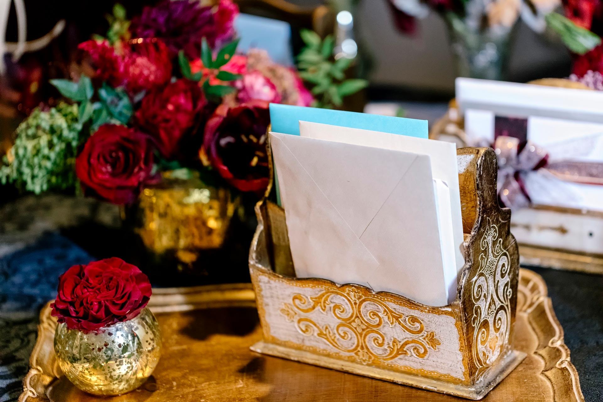 Gold wedding card table