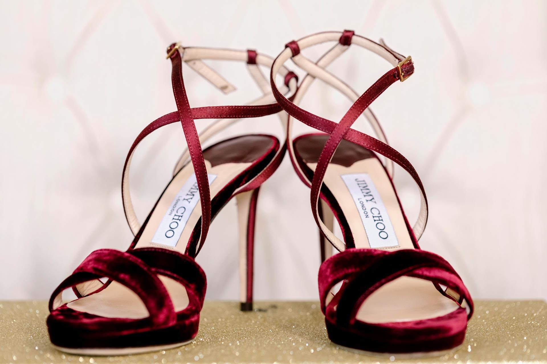 Burgundy Velvet Jimmy Choo Heels