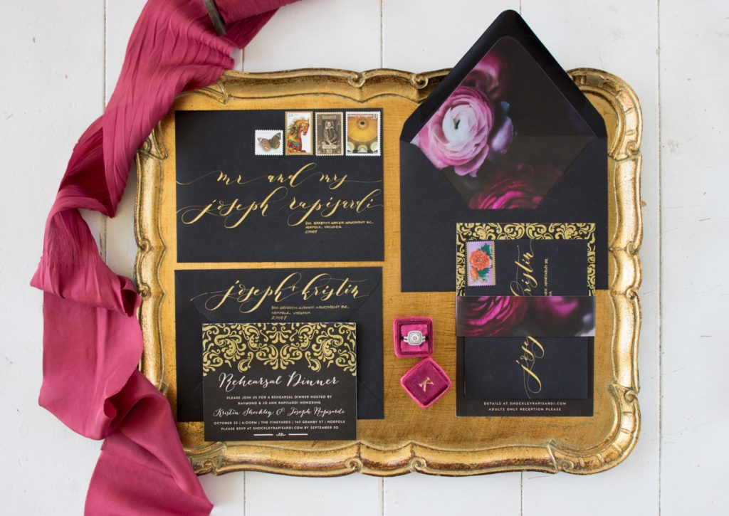 Moody Black Wedding Invitations