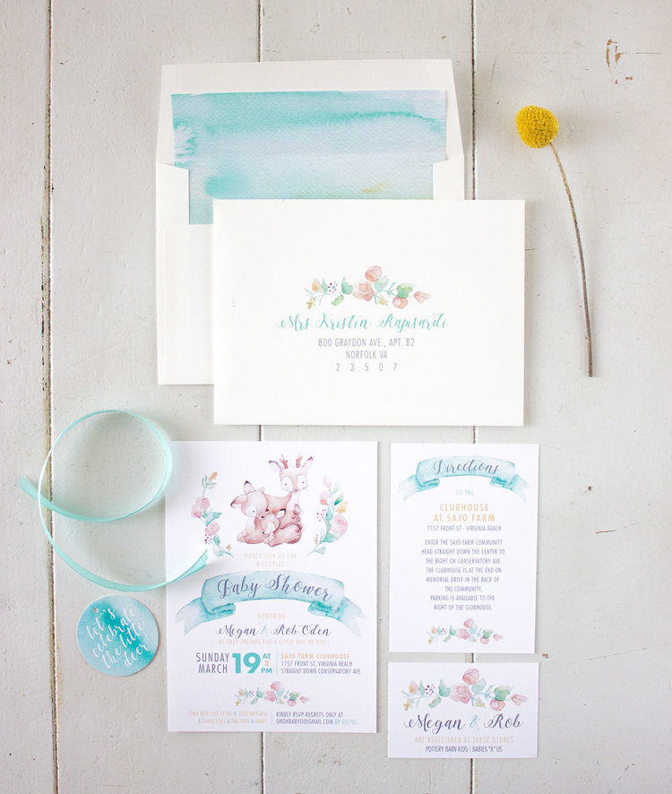 Woodland Watercolor Baby Shower Invites