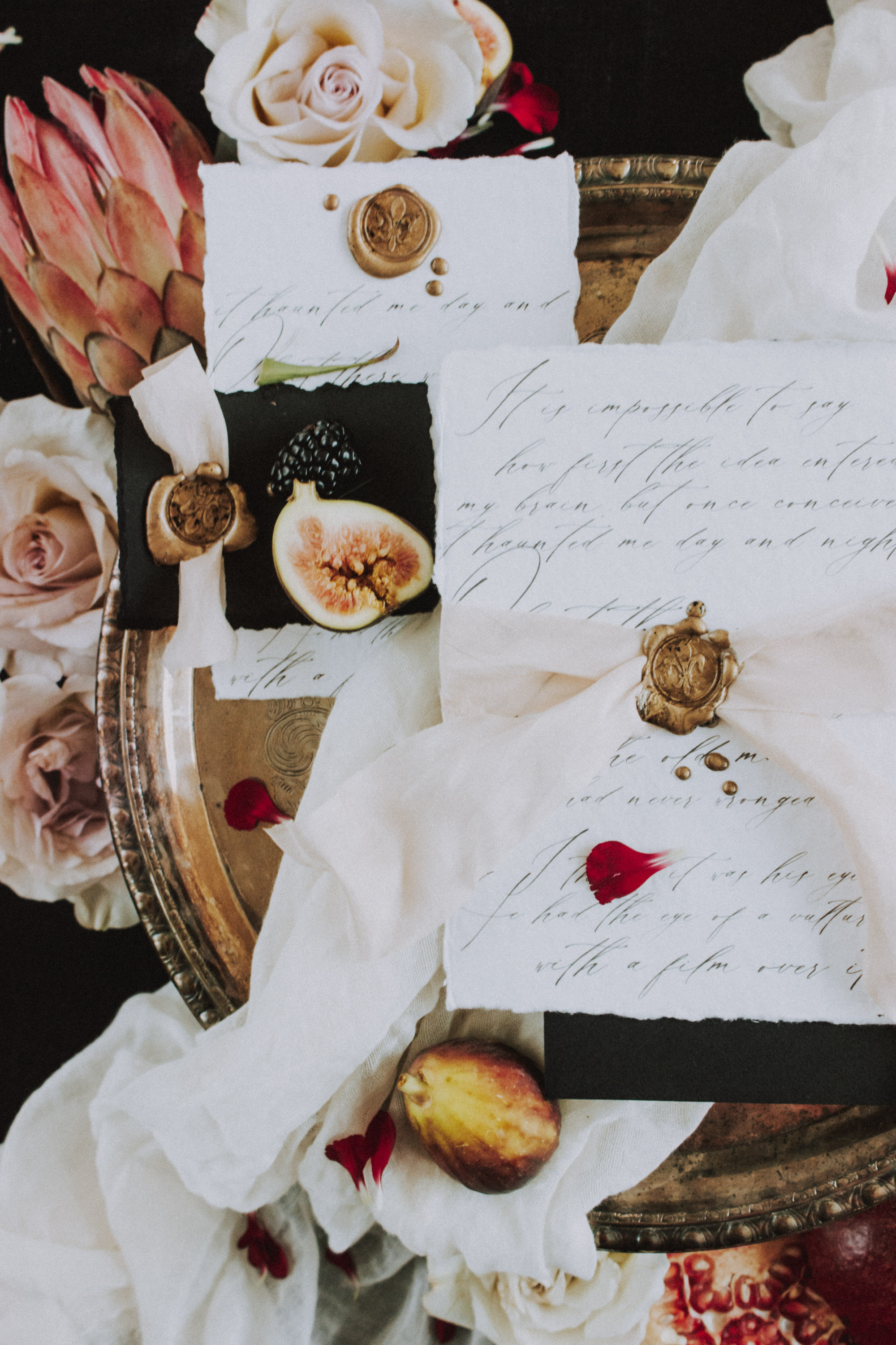 Moody Wedding Stationery Flat Lay