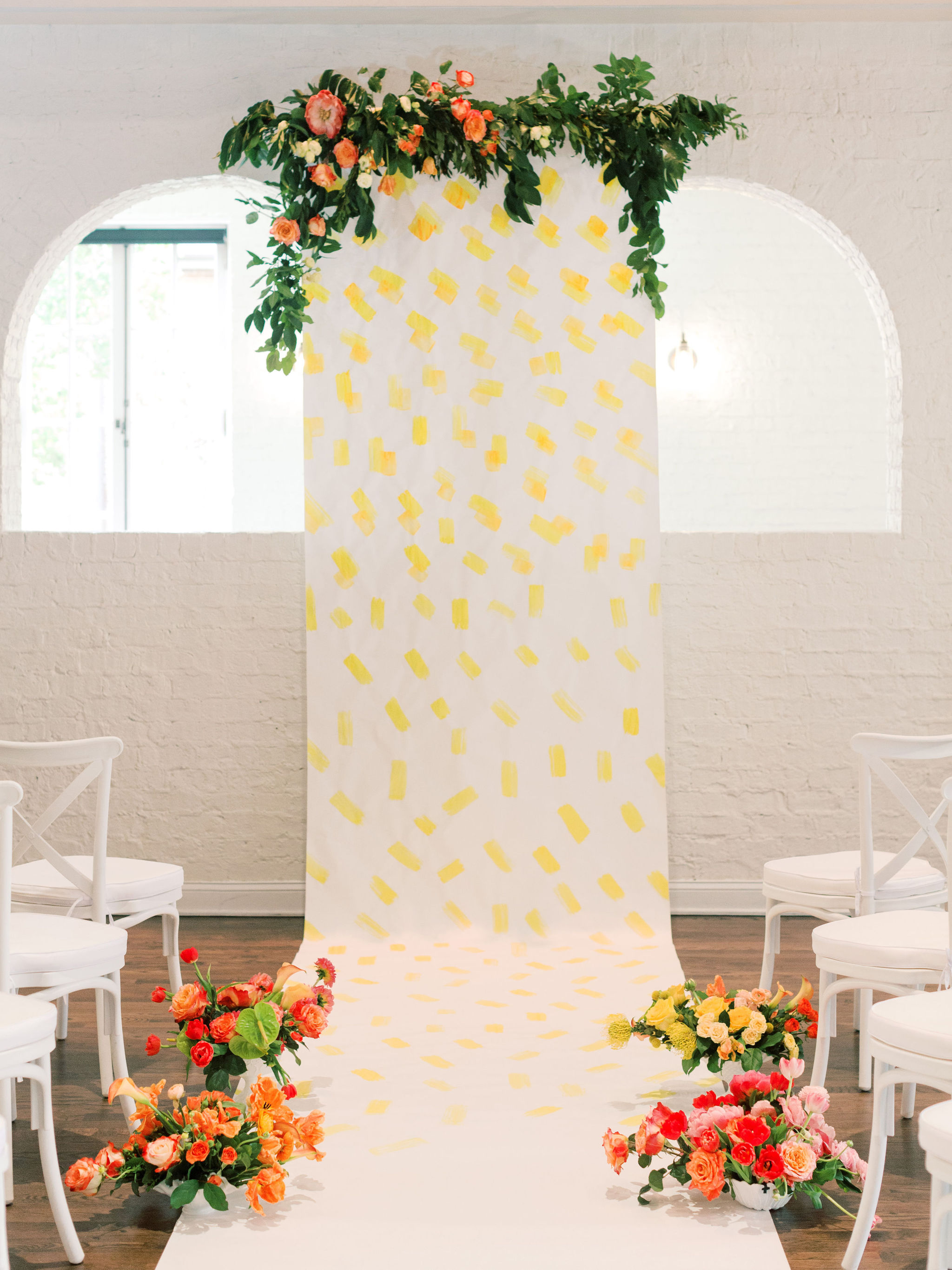 Painted Wedding Paper Ceremony Backdrop