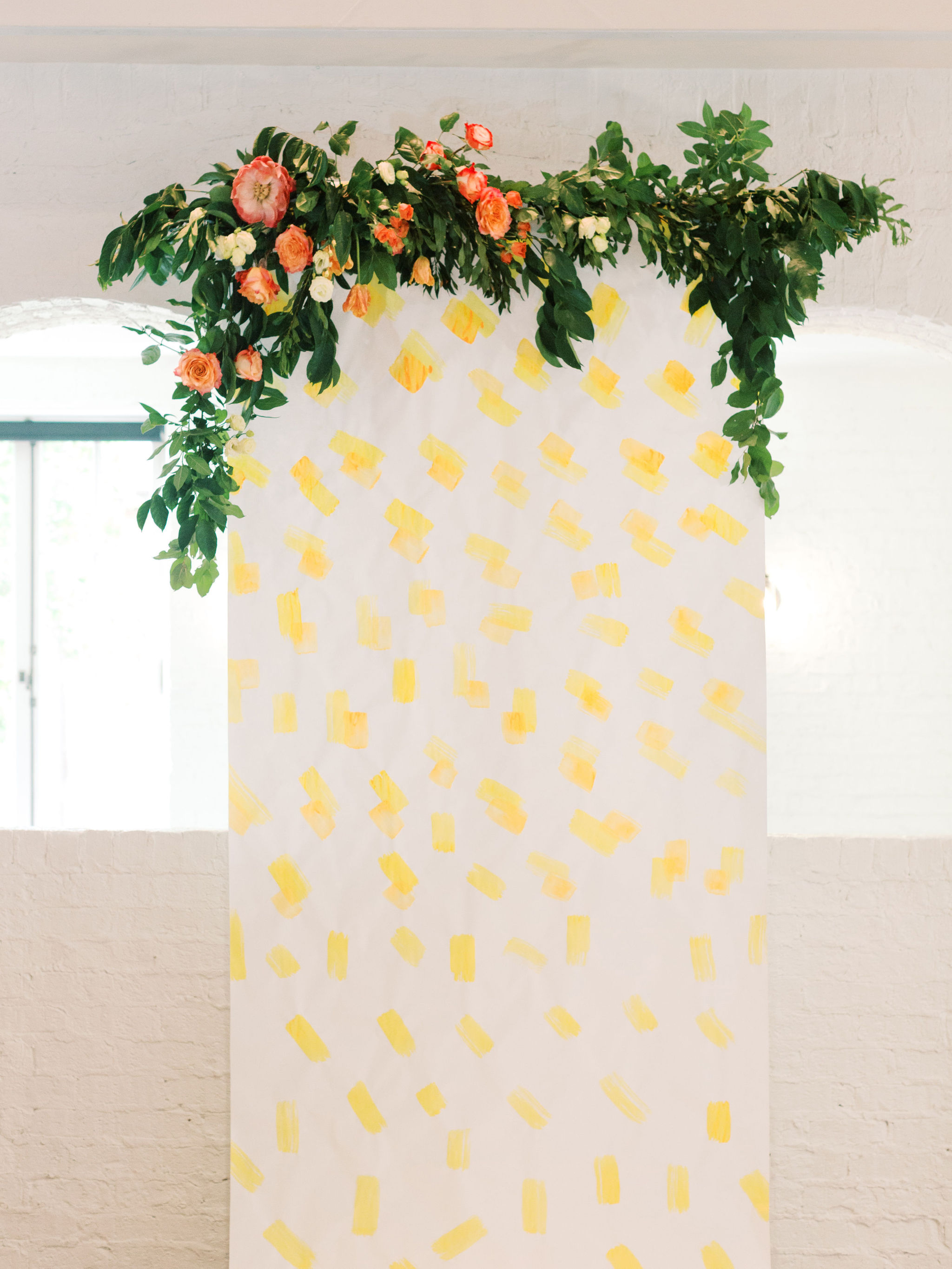 Painted Yellow Wedding Ceremony Backdrop