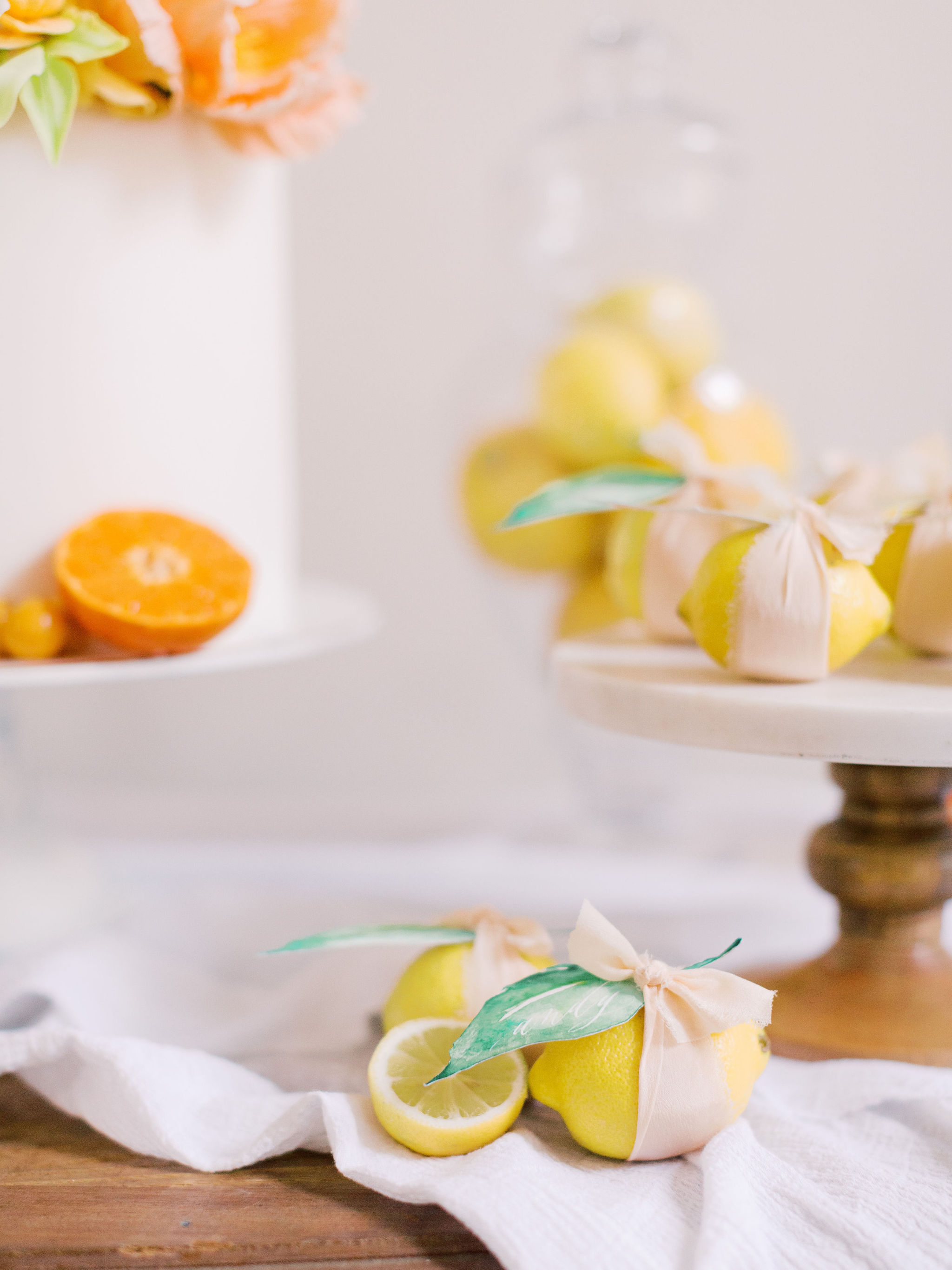 Lemon Wedding Place Cards