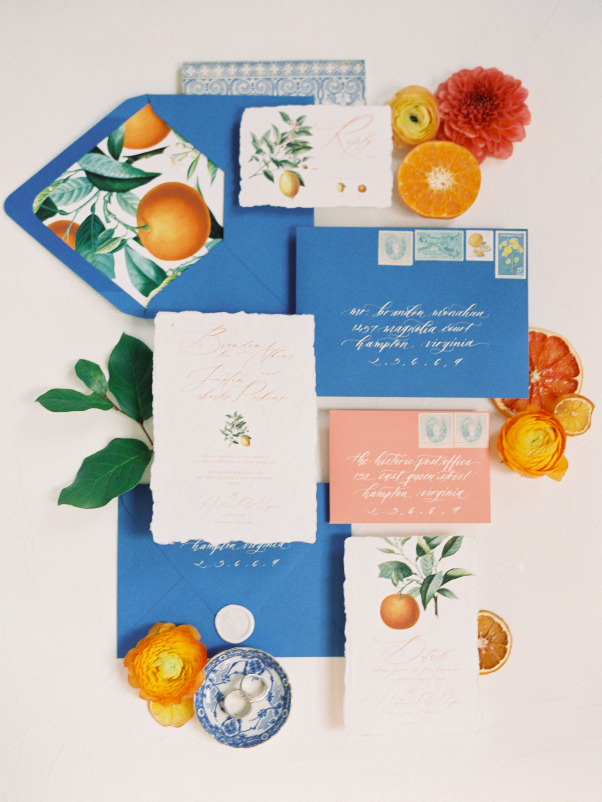 Citrus Botanical Wedding Invite Suite