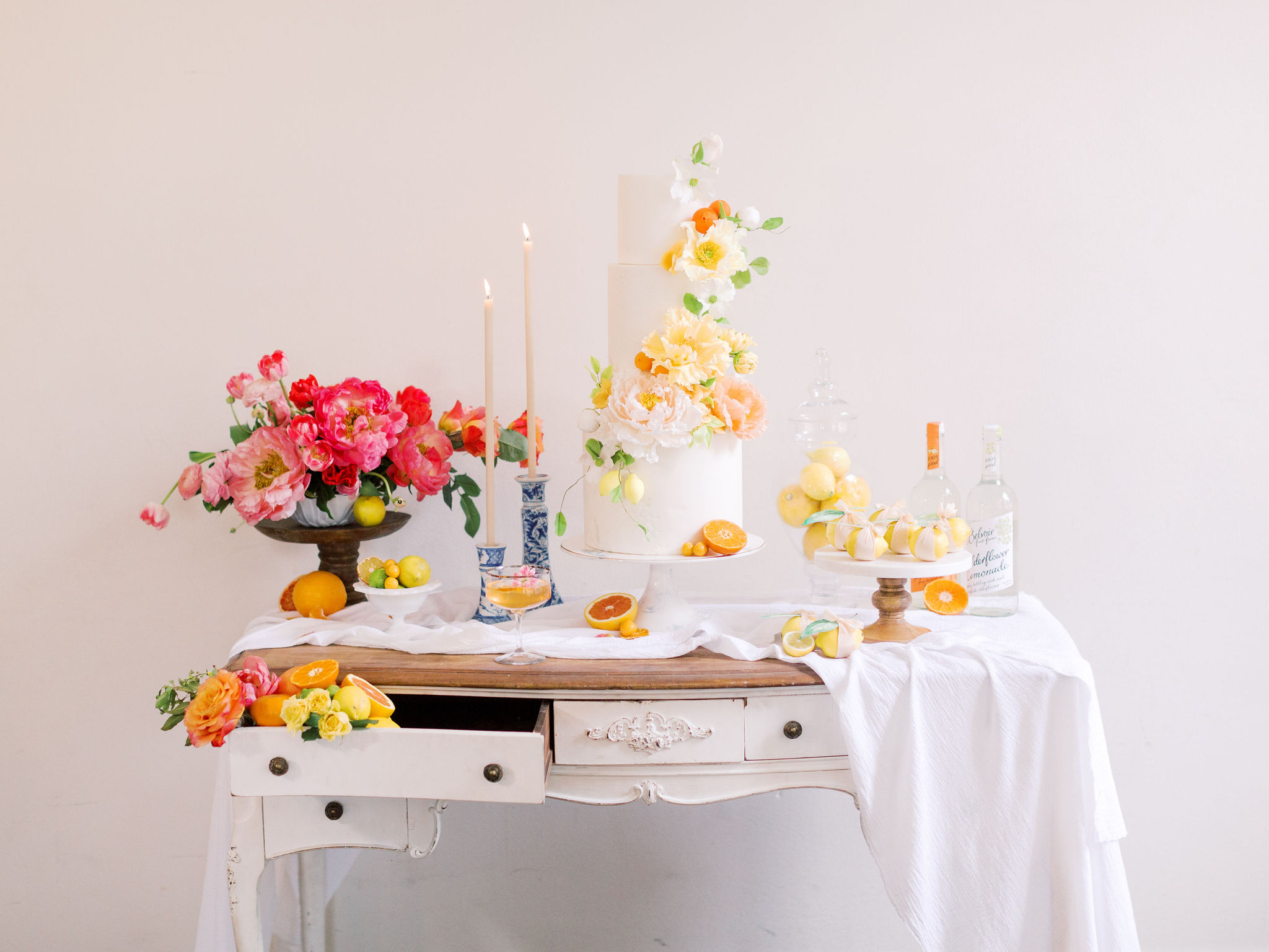 Citrus Wedding Inspiration Cake Table