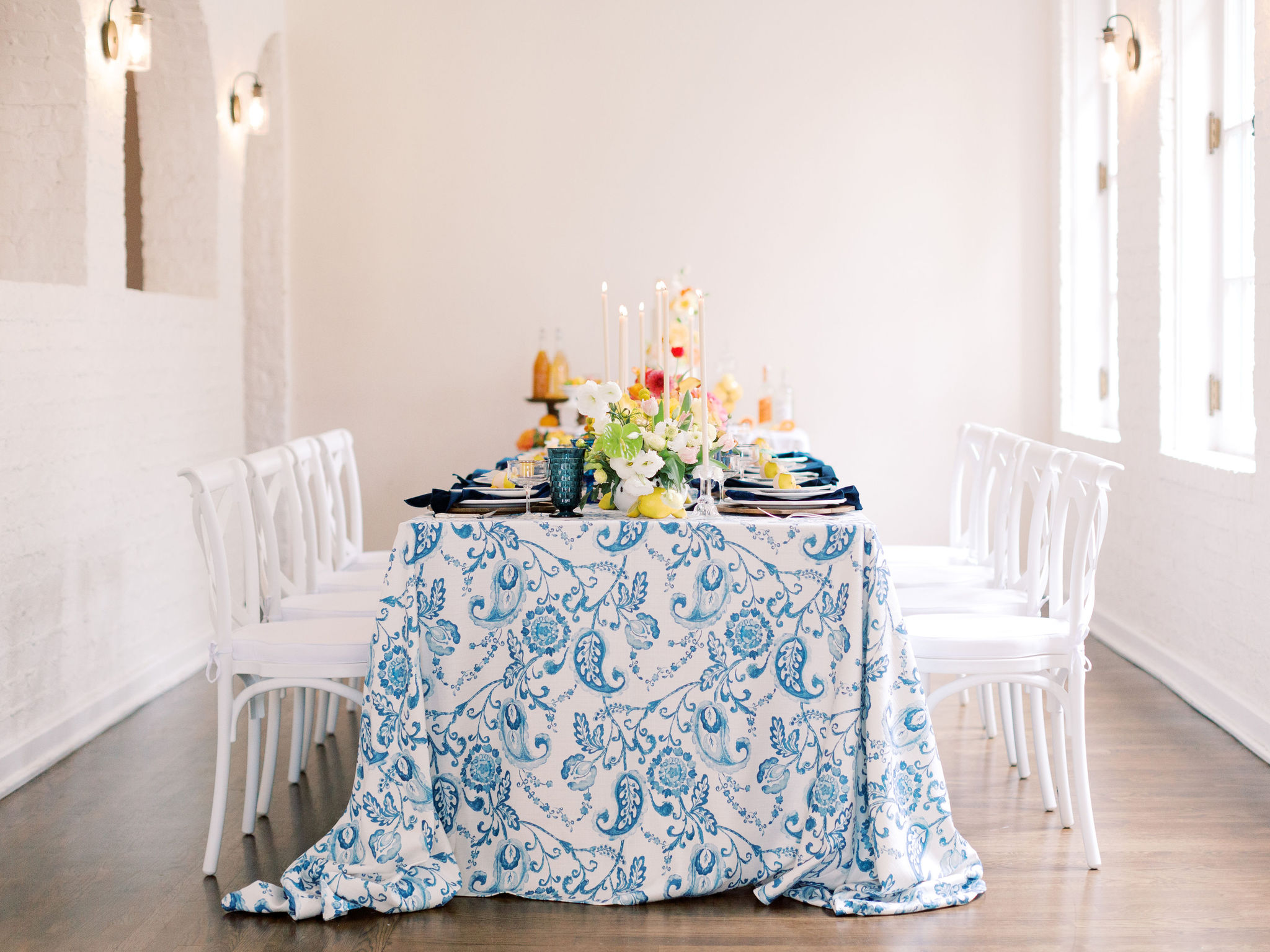 Blue and White Citrus Wedding Design