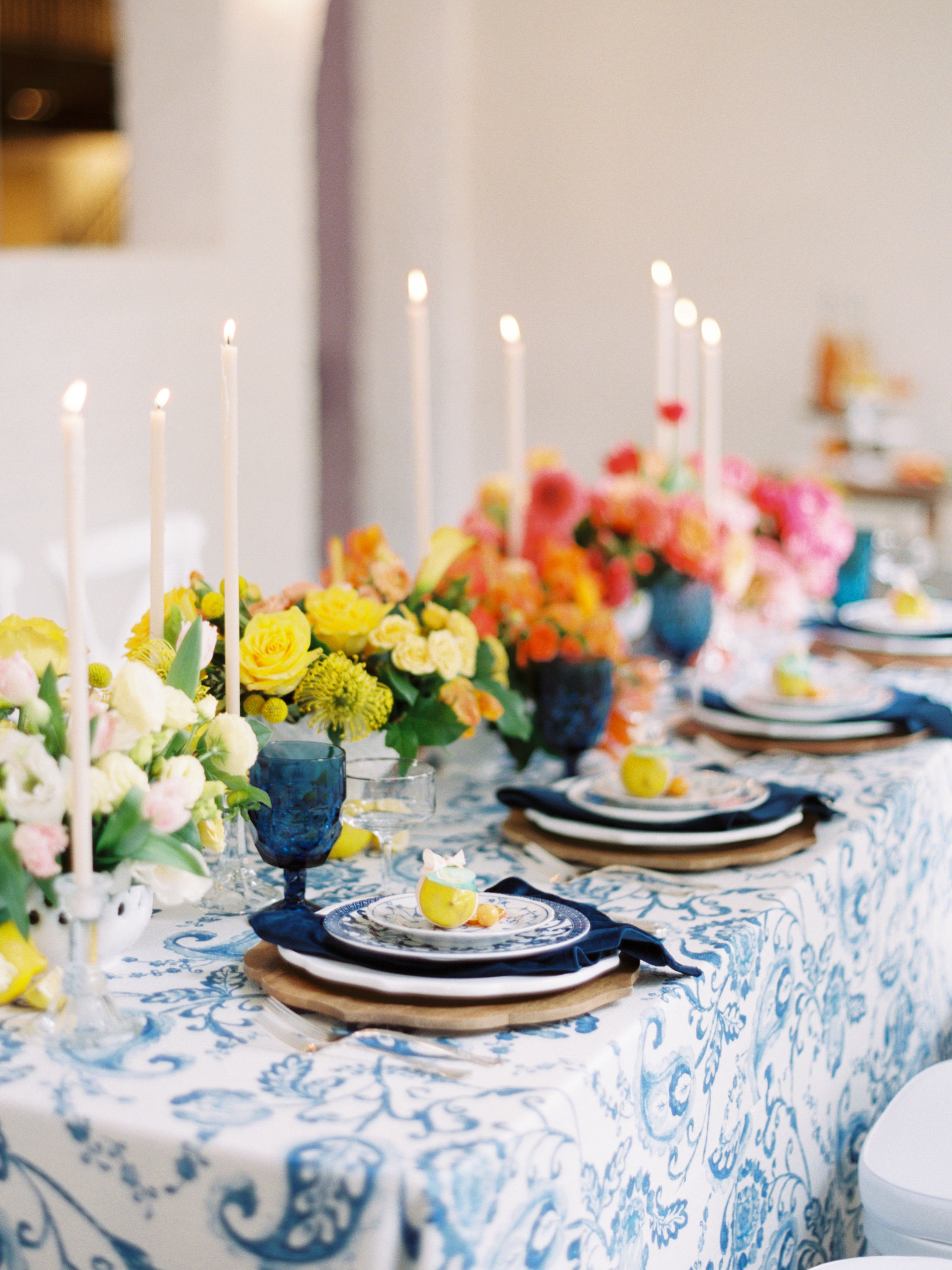 Blue and White Watercolor Table Linen