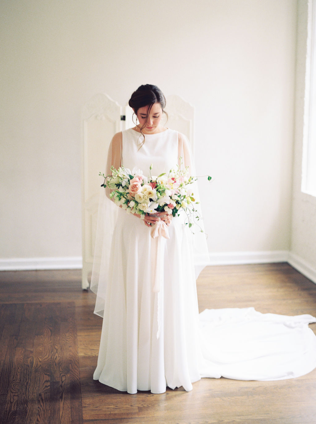 Simple Wedding Gown with Sheer Cape