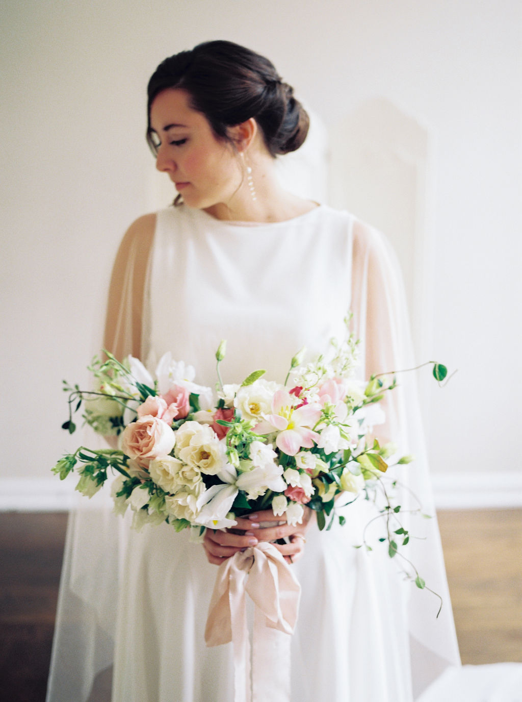 Modern Wedding Gown with Cape and Florals