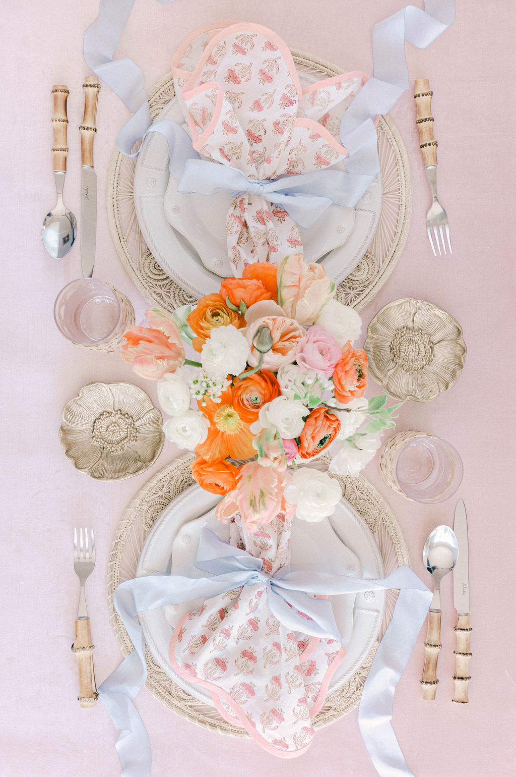 Pink and Peach Table Setting
